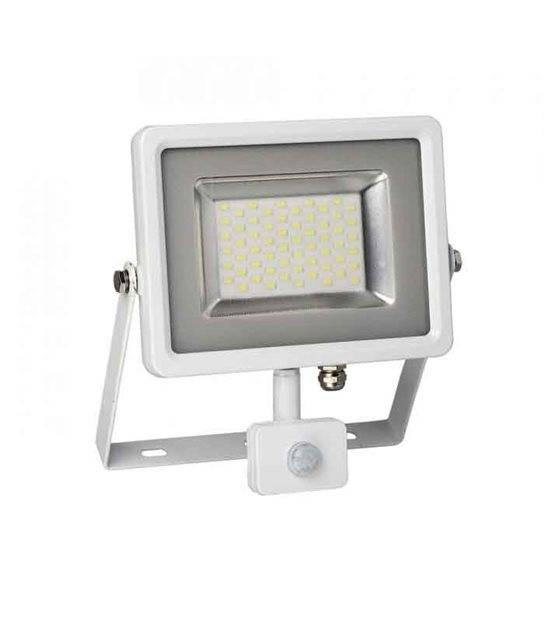 Projecteur blanc avec détecteur de mouvement 30W équiv 150W LED SMD intégrées IP65 Blanc Froid extérieur V-TAC - 5752 - PROJECTEUR MURAL - siageo-led.com
