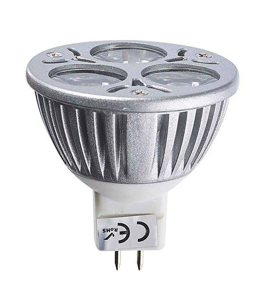 Ampoule LED GU5.3 MR16 Tri-Led 3x1W 3W 240-280Lm Blanc Neutre 60° 12V EPISTAR - GU5.3 - siageo-led.com