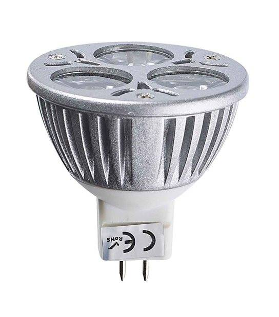 DESTOCKAGE Ampoule LED GU5.3 MR16 Tri-Led 3x1W 3W 240-280Lm Blanc Chaud 60° 12V EPISTAR - GU5.3 - siageo-led.com