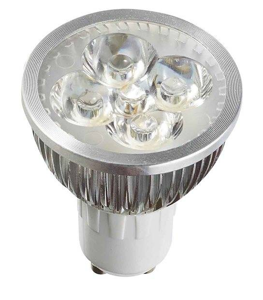 DESTOCKAGE Ampoule LED GU10 à 4x1W PowerLeds 4W 330-380Lm Blanc Chaud 38° IP20 HIPOW - GU10 - siageo-led.com