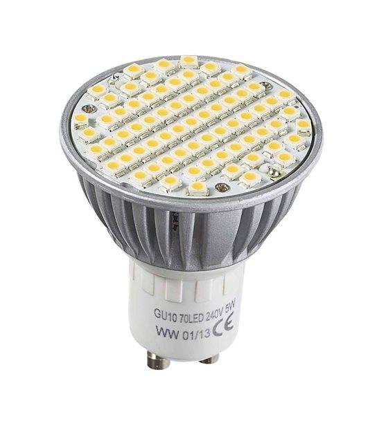 Ampoule LED GU10 à 80 SMD 5W 290Lm (équiv 30W) Blanc Chaud 120° HIPOW - GU10 - siageo-led.com