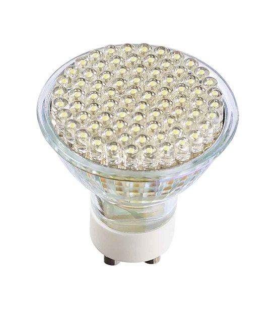 DESTOCKAGE Ampoule LED GU10 à 80LEDs 4W 190Lm (équiv 50W) Blanc Froid 120° 12V HIPOW - GU10 - siageo-led.com
