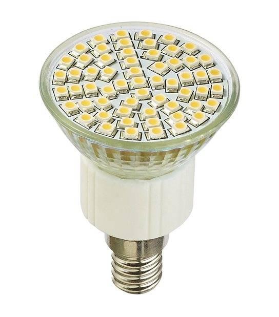 Ampoule LED E14 à 60LEDs SMD 4W 250Lm (équiv 35W) Blanc Neutre 120° HIPOW - E14 - siageo-led.com