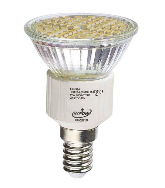 Ampoule LED E14 à 60LEDs SMD 4W 250Lm (équiv 35W) Blanc Chaud 120° HIPOW - E14 - siageo-led.com