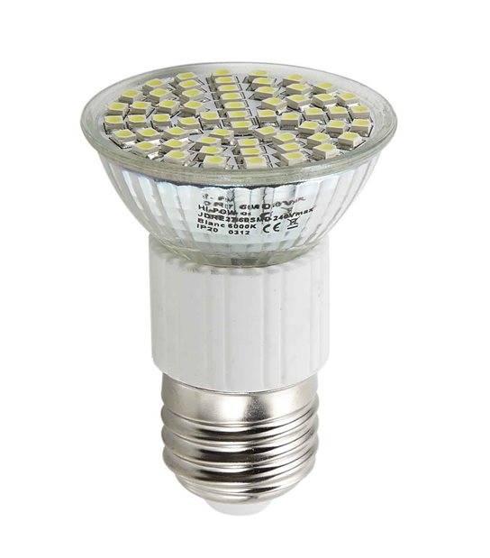 Ampoule LED E27 à 60LEDs SMD 4W 250Lm (équiv 35W) Blanc Froid 120° HIPOW - E27 - siageo-led.com