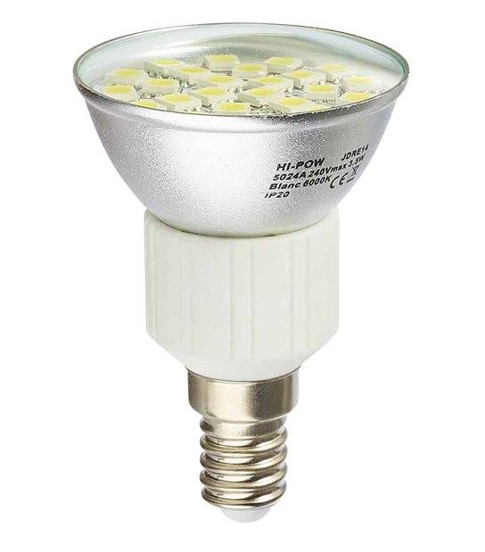 DESTOCKAGE Ampoule LED E14 Dimmable à 24 SMD5024 4W 310Lm (équiv 31W) Blanc Froid 120° HIPOW - E14 - siageo-led.com