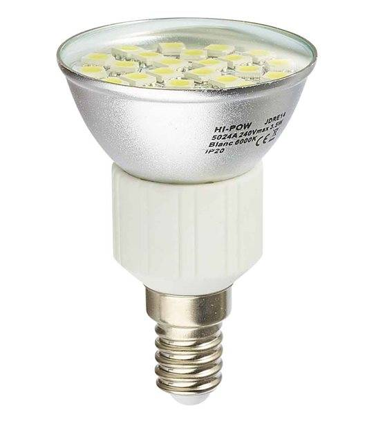DESTOCKAGE Ampoule LED E14 Dimmable à 24 SMD5024 4W 310Lm (équiv 31W) Blanc Chaud 120° HIPOW - E14 - siageo-led.com
