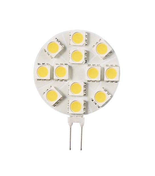 Ampoule LED G4 Plat à 12 SMD5050 2W 160Lm (équiv 20W) Blanc Chaud 150° 12V HIPOW - G4 - siageo-led.com