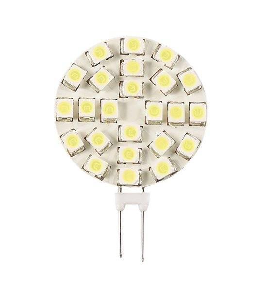 Ampoule LED G4 Plat à 18SMD3528 1.2W 290Lm (équiv 13W) Blanc Chaud 120° 12V HIPOW - G4 - siageo-led.com