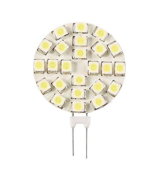 Ampoule LED G4 Plat à 24 SMD3528 1.2W 110Lm (équiv 12W) Blanc Froid 120° 12V HIPOW - G4 - siageo-led.com