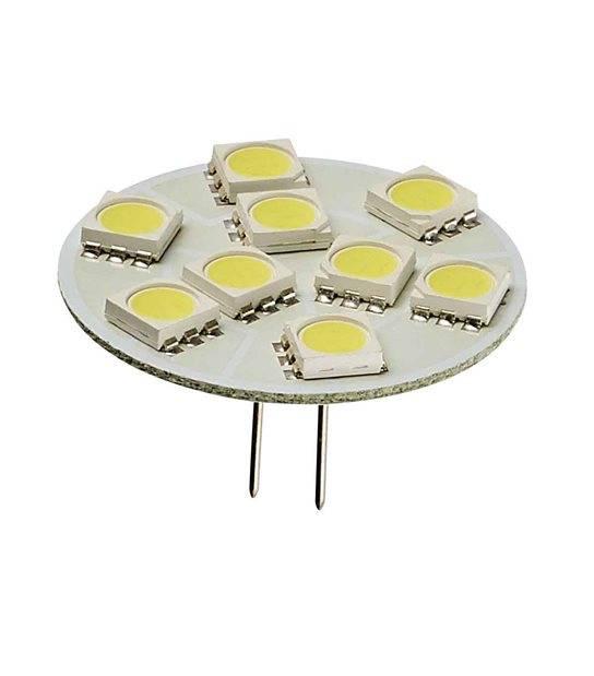 Ampoule LED G4 backpin Plat à 9 SMD5050 1.5W 150Lm (équiv 20W) Blanc Froid 150° 12V HIPOW - G4 - siageo-led.com