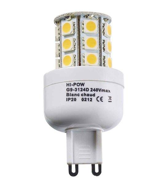 Ampoule LED G9 à 24 SMD5050 3W 250-320Lm Blanc Chaud 360° IP20 HIPOW - CYBER WEEK - siageo-led.com
