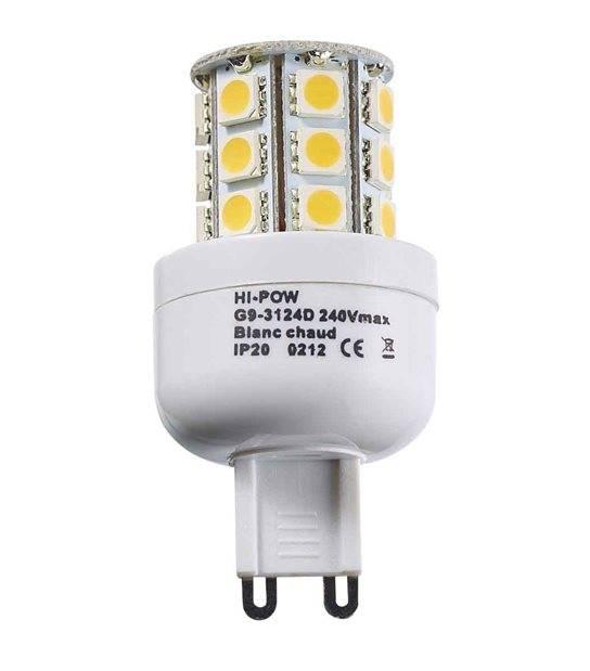 Ampoule LED G9 à 24 SMD5050 3W 250-320Lm Blanc Chaud 360° IP20 HIPOW - G9 - siageo-led.com