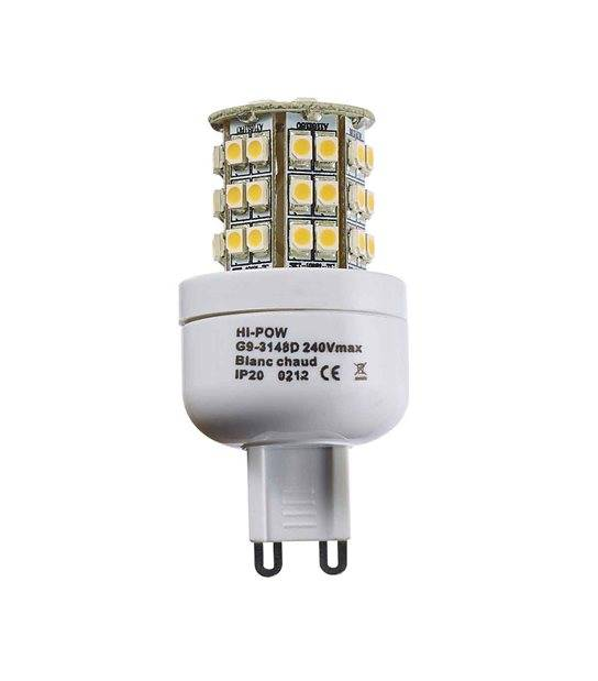 Ampoule LED G9 à 48 SMD5050 3W 250-320Lm Blanc Chaud 360° IP20 HIPOW - CYBER WEEK - siageo-led.com