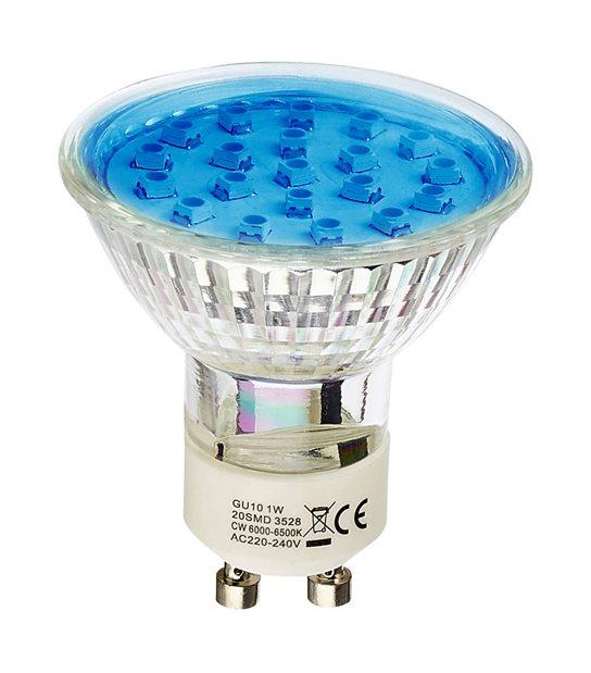 Ampoule LED GU10 à 20 LEDs 1W Bleu HIPOW - AMPOULE GU10 - siageo-led.com