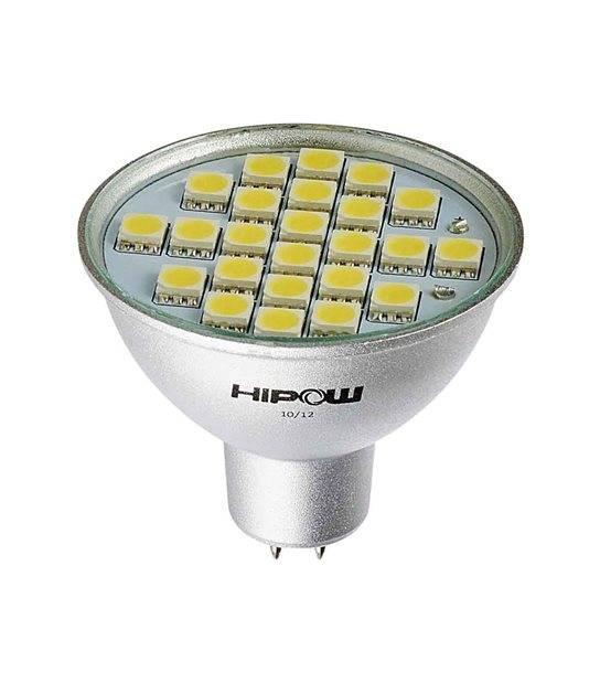 Ampoule LED GU5.3 MR16 à 24 SMD5050 4W 300Lm (équiv 35W) Blanc Froid 120° 12V HIPOW - GU5.3 - siageo-led.com