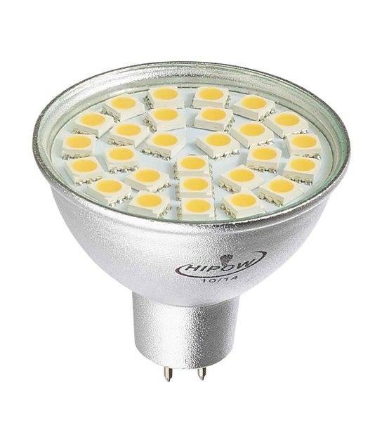 Ampoule LED GU5.3 MR16 à 24 SMD5050 4W 400Lm (équiv 35W) Blanc Chaud 120° 12V HIPOW - AMPOULE GU5.3 - siageo-led.com