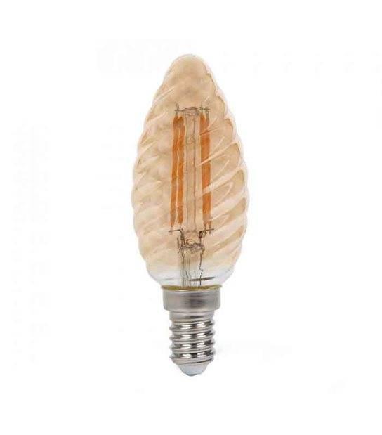 Ampoule LED E14 Bougie Filament COG 4W 350Lm (équiv 35W) Blanc très chaud 300° IP20 V-TAC - FILAMENT - siageo-led.com