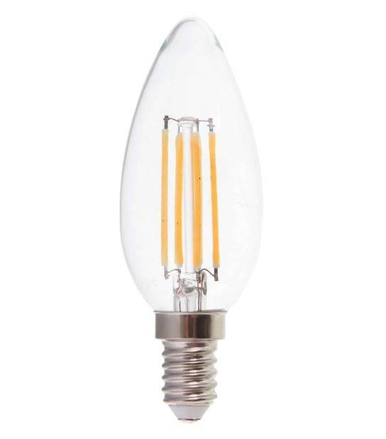 Ampoule LED E14 Bougie Filament COG 4W 400Lm (équiv 40W) Blanc Chaud 300° IP20 V-TAC - FILAMENT - siageo-led.com