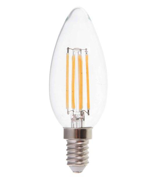 Ampoule LED E14 Bougie Dimmable Filament COG 4W 320Lm (équiv 40W) Blanc Chaud 300° IP20 V-TAC - FILAMENT - siageo-led.com