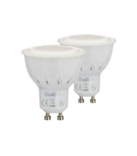 LOT DE 2 Ampoule LED GU10 SMD 5.5W 420Lm (équiv 50W) Blanc Chaud 100° XANLITE - GU10 - siageo-led.com