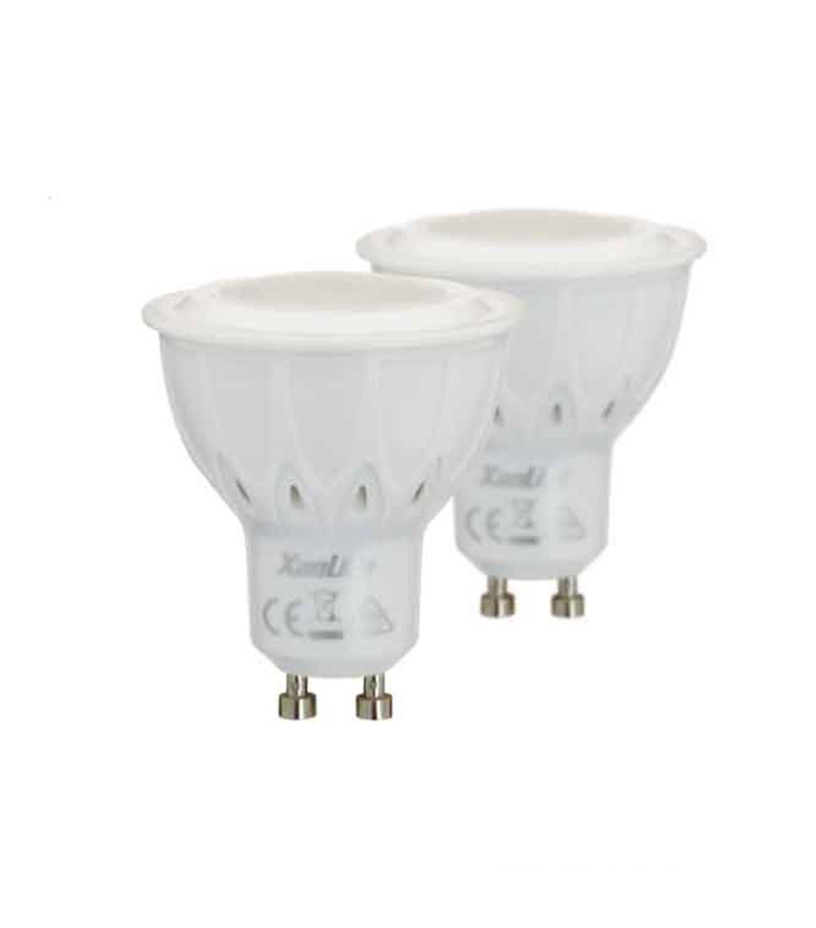 lot de 2 ampoule led gu10 dimmable smd 5 5w 345lm quiv 50w blanc neutre 60 xanlite gu10. Black Bedroom Furniture Sets. Home Design Ideas
