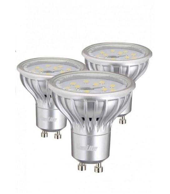 LOT DE 3 Ampoule LED GU10 SMD 2.3W 130Lm (équiv 25W) Blanc Chaud 110° XANLITE - 3MG130S - CYBER WEEK - siageo-led.com