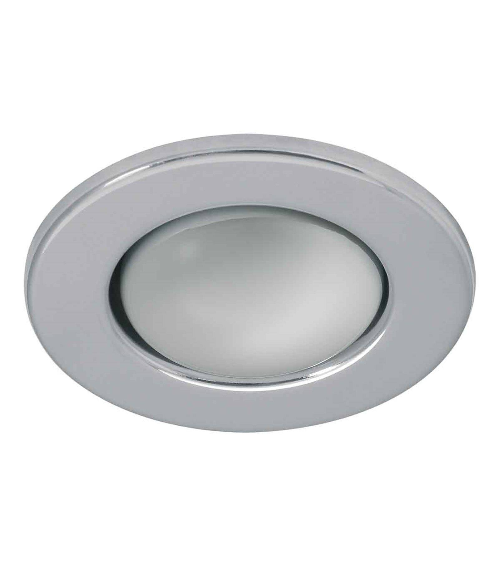Spot encastrable plafonnier rago chrome rond e14 ip20 for Spot led interieur encastrable