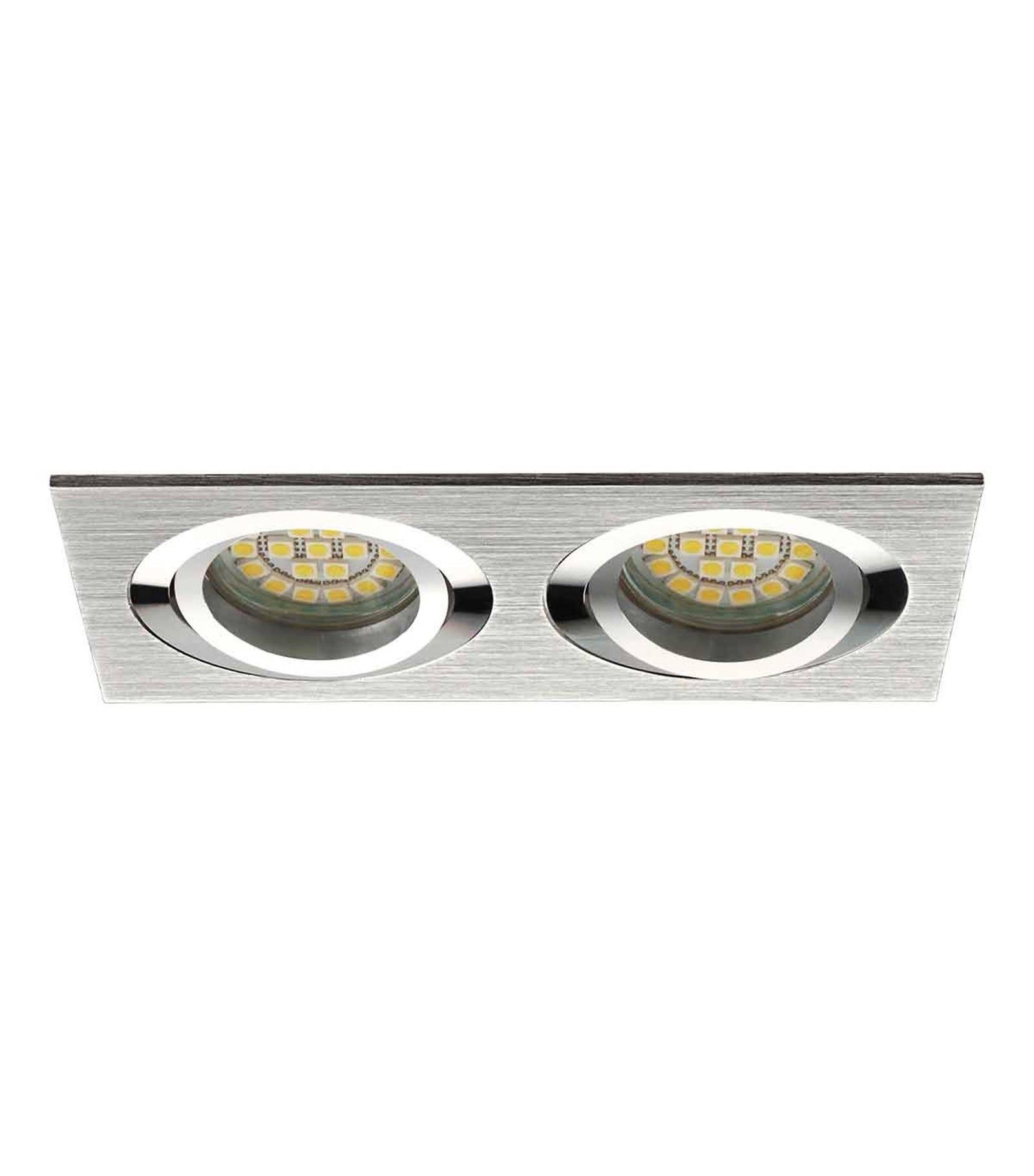spot encastrable plafonnier seidy aluminium bross r ctangulaire 2 spots gu5 3 gu10 ip20. Black Bedroom Furniture Sets. Home Design Ideas