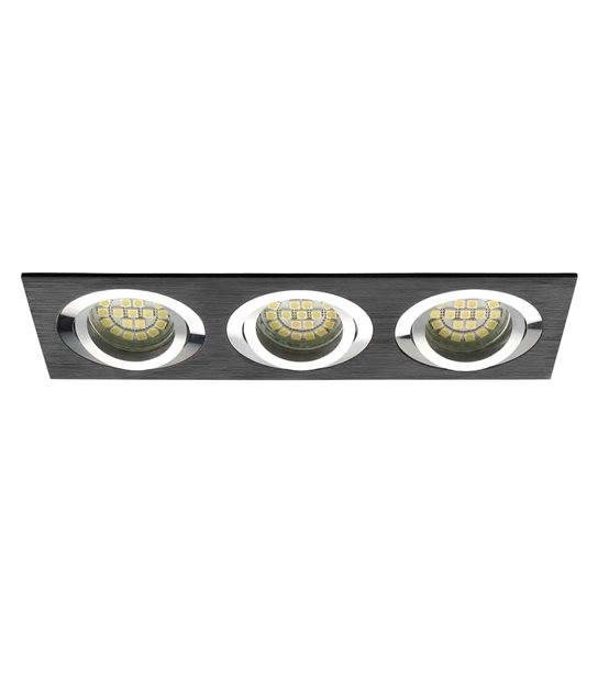 Spot Encastrable SEIDY Aluminium brossé noir Réctangulaire 3 spots GU5.3/GU10 IP20 Orientable 30° KANLUX - 18285 - CYBER WEEK - siageo-led.com