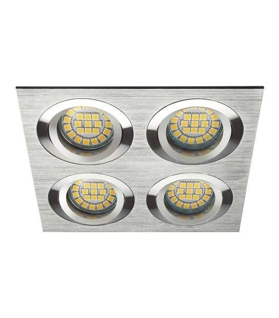 Spot Encastrable SEIDY Aluminium brossé Réctangulaire 4 spots GU5.3/GU10 IP20 Orientable 30° KANLUX - 18286 - ORIENTABLE - siageo-led.com