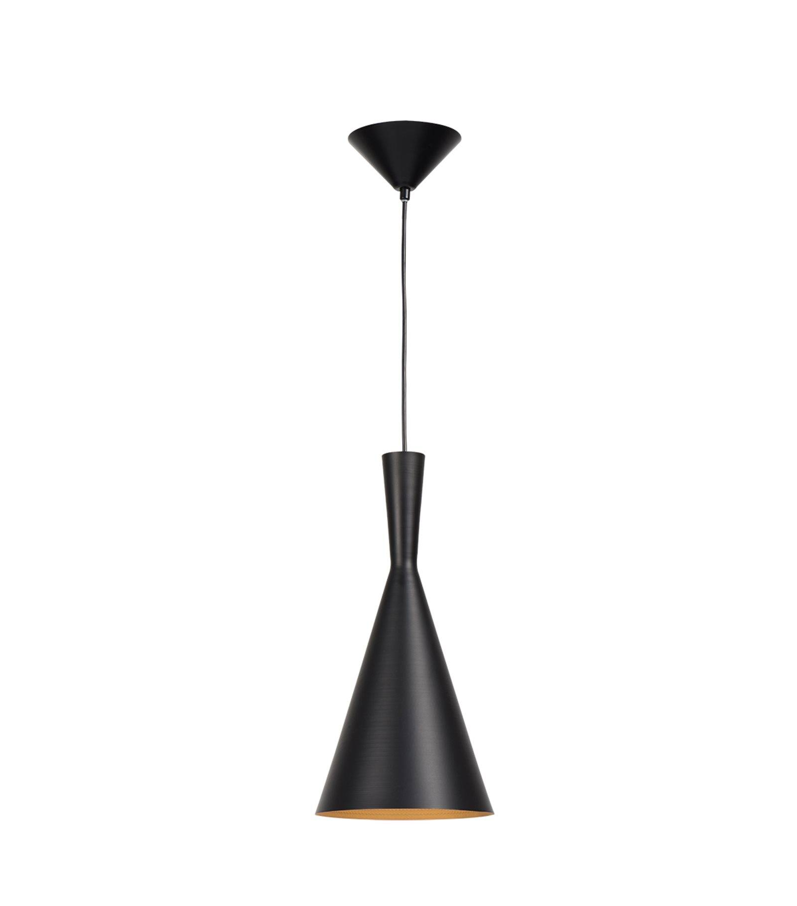 Plafonnier luminaire suspension bellie noir conique e27 for Suspension luminaire noir et or