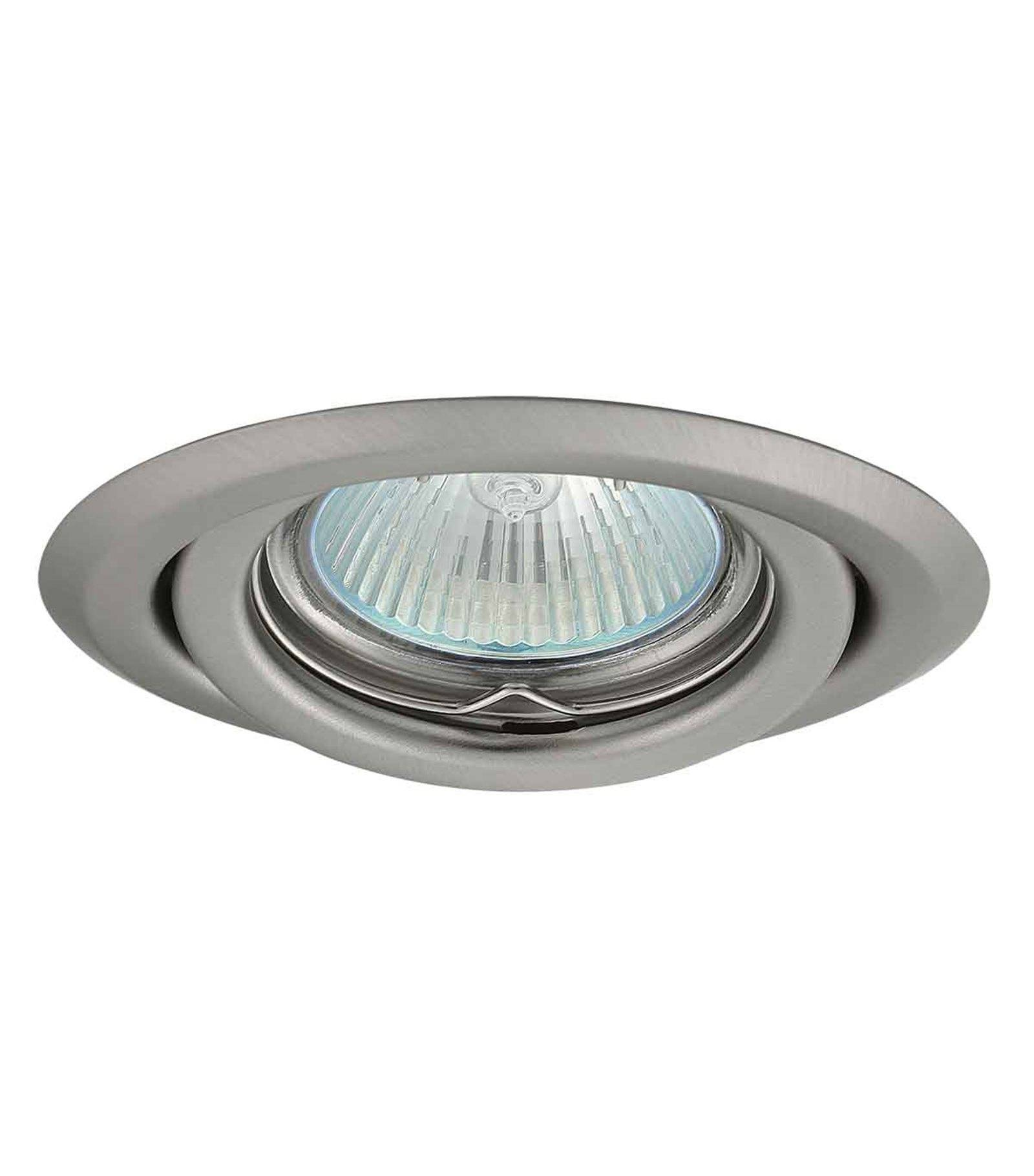 Spot encastrable plafonnier argus chrome mat rond gu5 3 for Spot led interieur encastrable