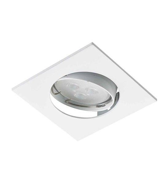 Spot encastrable avec douille raccord protégé ZAMAK Blanc Carré GU10 IP20 Orientable 30° HIPOW - ORIENTABLE - siageo-led.com