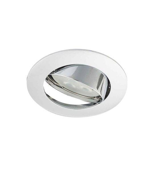 Spot encastrable avec douille raccord protégé ZAMAK Chrome Rond GU5.3 MR16 IP20 Orientable 30° HIPOW - CYBER WEEK - siageo-led.com