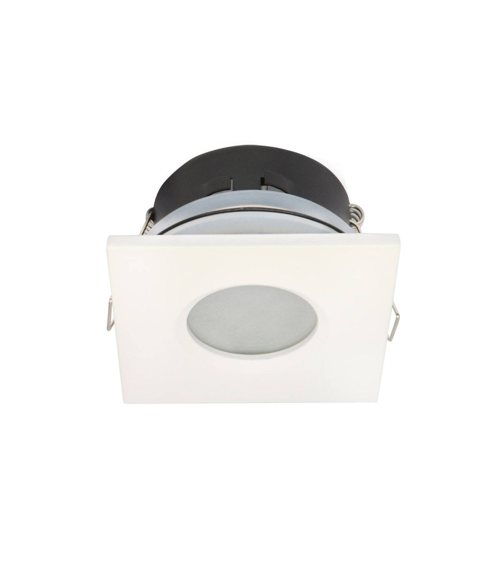 Spot encastrable salle de bain blanc carr gu5 3 mr16 ip65 for Spot led etanche salle de bain