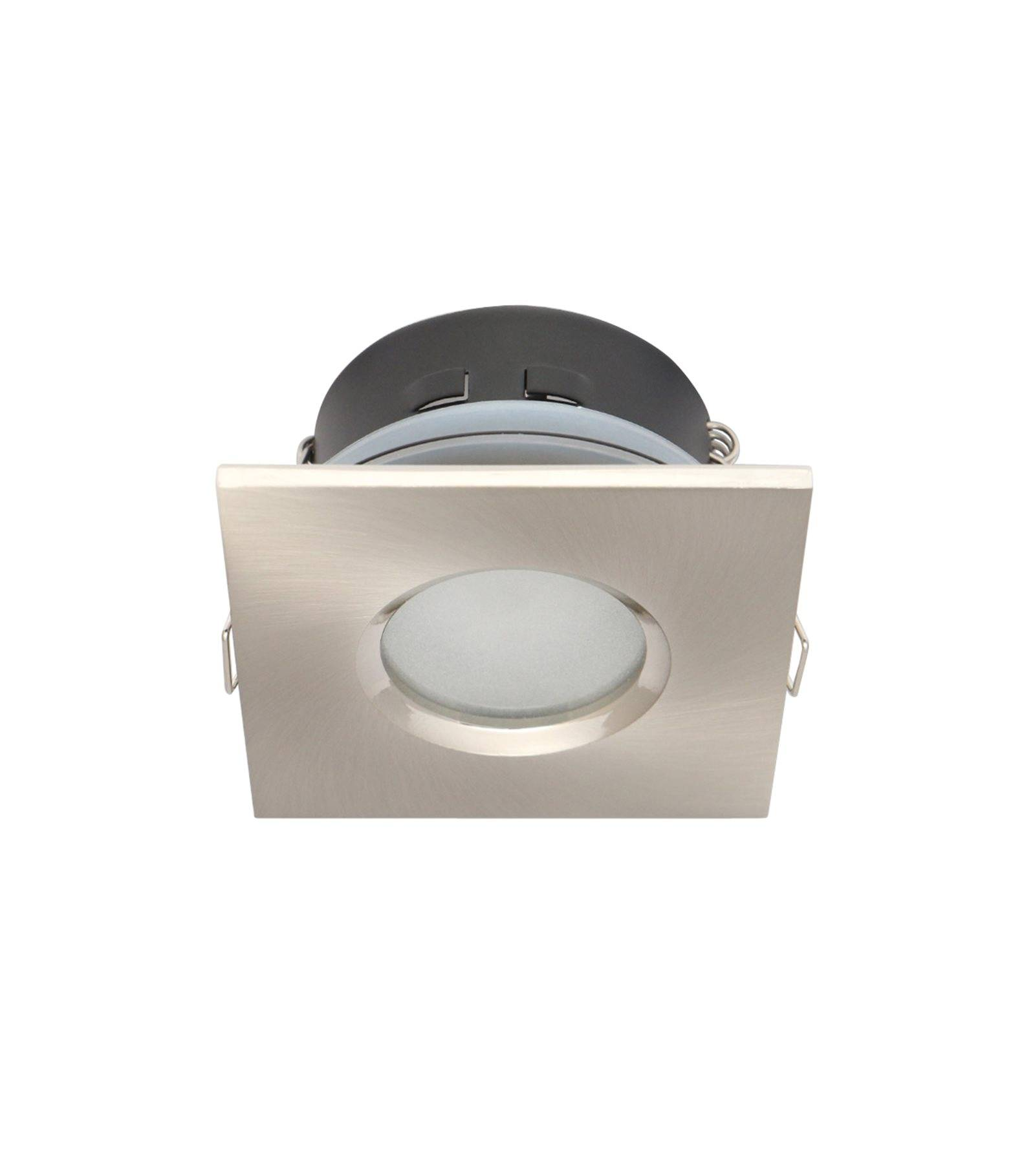 Spot encastrable salle de bain nickel satin carr gu5 3 for Spot led etanche salle de bain