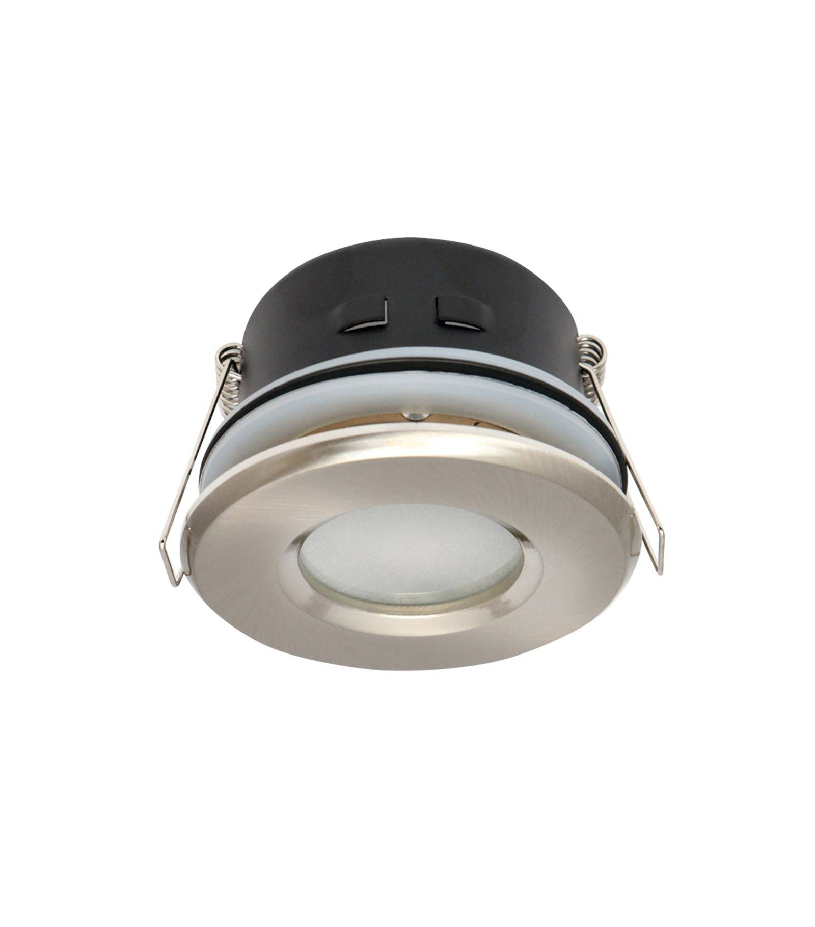 Spot encastrable salle de bain nickel satin rond gu5 3 for Spot led ip65 salle bain