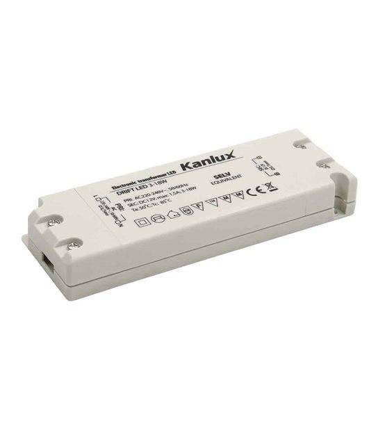 Transformateur électronique LED 18W 220-240V à 12V DC IP20 DRIFT KANLUX - 8550 - TRANSFORMATEUR ELECTRONIQUE - siageo-led.com