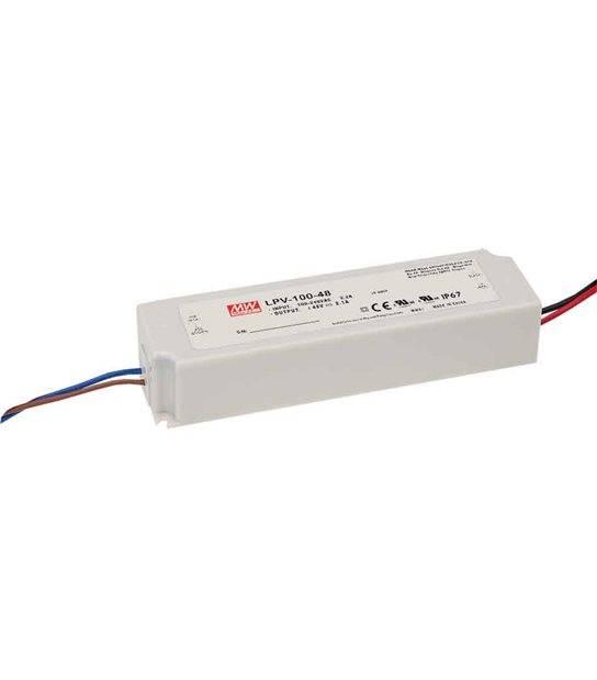 Transformateur LED 100W 90-264V à 12V DC étanche IP67 LPV-100-12 MEAN WELL - LPV-100-12 - TRANSFORMATEUR - siageo-led.com