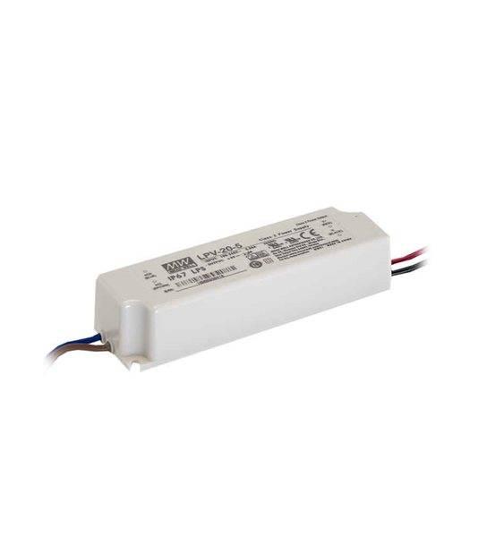 Transformateur LED 20W 90-264V à 12V DC étanche IP67 LPV-20-12 MEAN WELL - LPV-20-12 - TRANSFORMATEUR - siageo-led.com