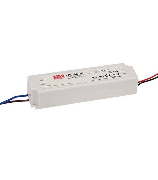 Transformateur LED 60W 90-264V à 12V DC étanche IP67 LPV MEAN WELL - LPV-60-12 - TRANSFORMATEUR - siageo-led.com