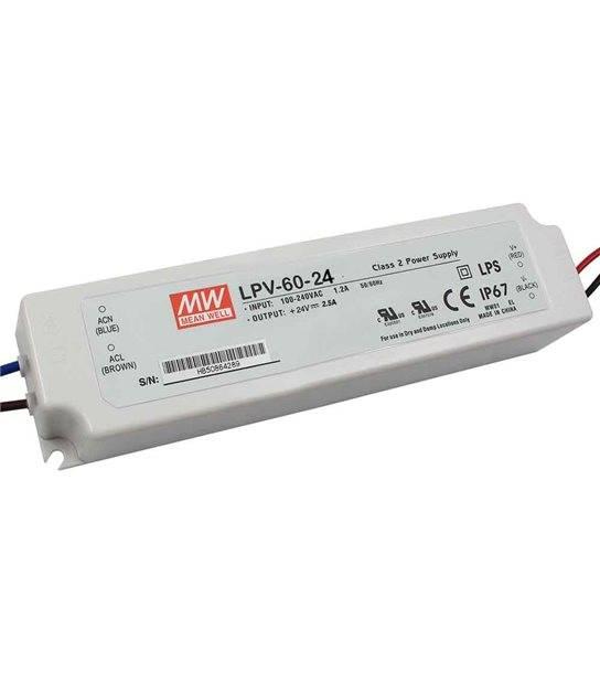 Transformateur LED 60W 90-264V à 24V DC étanche IP67 LPV MEAN WELL - LPV-60-24 - TRANSFORMATEUR - siageo-led.com