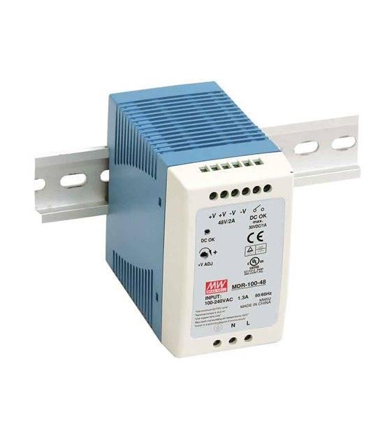 Transformateur pour rail DIN armoire électrique 100Wà 12V DC MDR-100-12 MEAN WELL - MDR-100-12 - CYBER WEEK - siageo-led.com