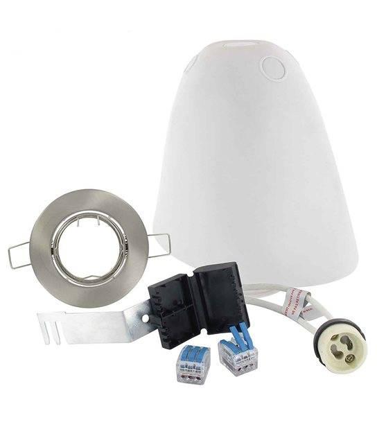 Kit complet SPOTBOX Orientable Alu brossé maison BBC RT2012 pour ampoule GU10 spot en alu D75 BLM - 694893 - BBC RT2012 - siageo-led.com
