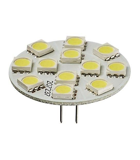 Ampoule LED G4 backpin Plat à 12 SMD5050 2W 170Lm (équiv 25W) Blanc Chaud 150° 12V HIPOW - G4 - siageo-led.com