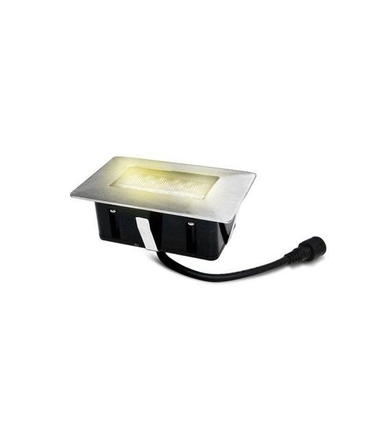 Mini Spot encastrable rectangle 6x10cm Inox Mini DECK Light 2W LED integrés IP67 Blanc Chaud extérieur EASY CONNECT - SPOT ENCASTRABLE JARDIN - siageo-led.com
