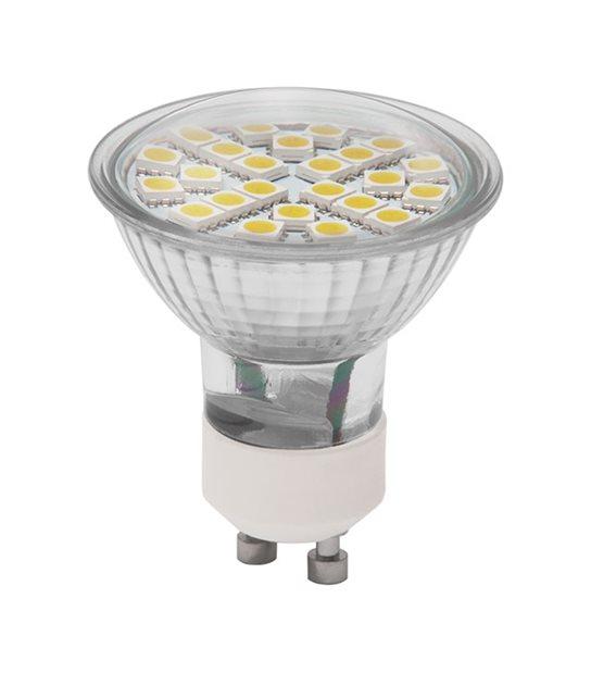 Ampoule LED GU10 à 24 SMD5050 CLS 3W 280Lm (équiv 26W) Blanc Chaud KANLUX - GU10 - siageo-led.com