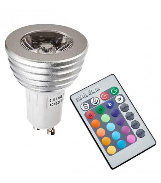 Ampoule LED GU10 à led RGB controlable à distance Ampoule + telecommande - TÉLÉCOMMANDÉ - siageo-led.com