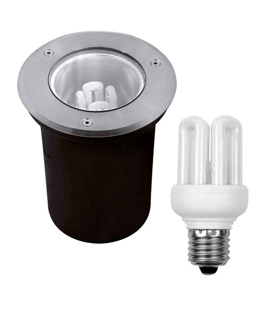 Pack Spot IP67 et Ampoule Fluocompacte E27 11W 500LM Blanc Chaud Kanlux - Import AS temp - siageo-led.com